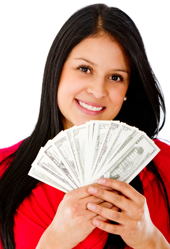 girl with money from Gentry Finance Company